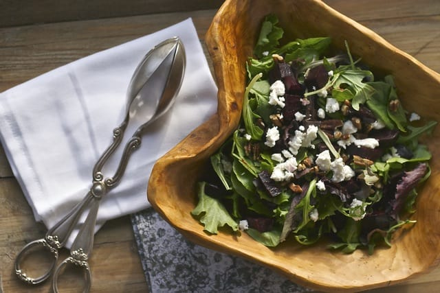 Beet and goat cheese salad top view