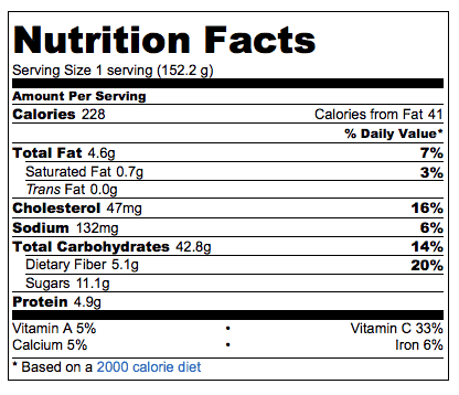 sweet potato souffle nutrition information