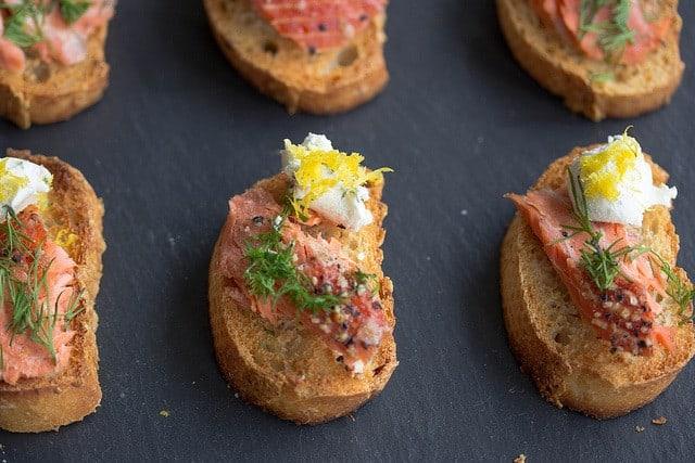 Sockeye salmon crostini