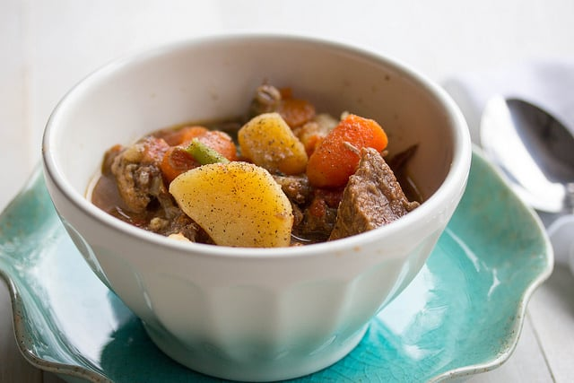 Red wine beef stew bowl