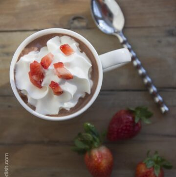 Chocolate covered strawberry hot chocolate