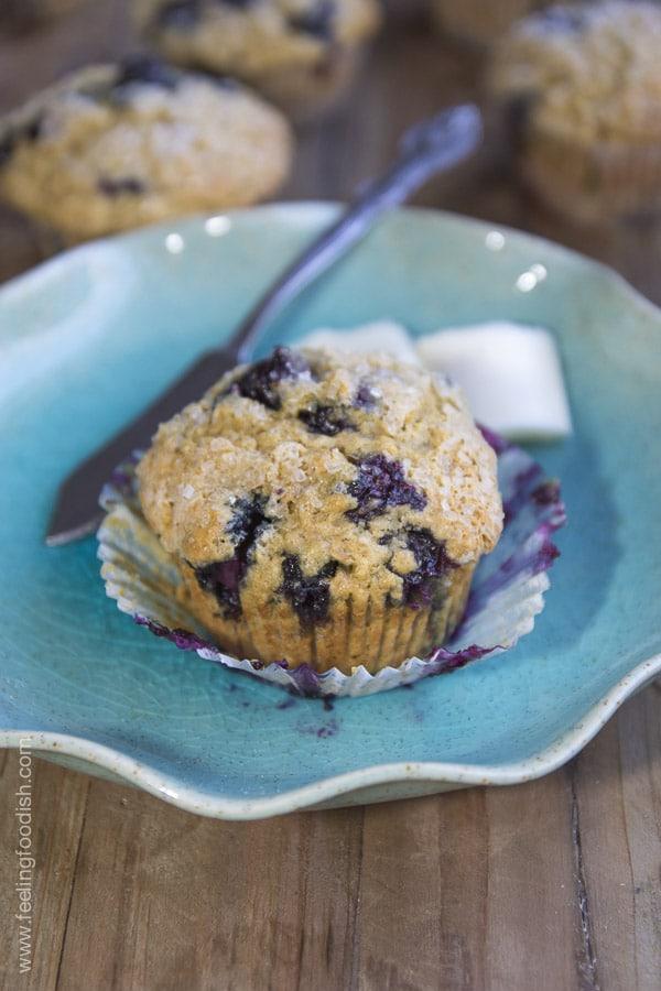 Blueberry Flaxseed Muffin | www.feelingfoodish.com