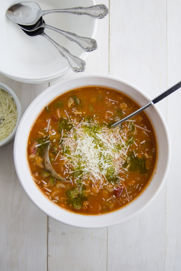 bowl of Italian minestrone soup