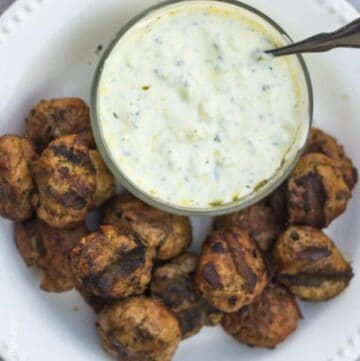 "The fastest ""meatballs"" you'll ever make plus a great recipe for tzatziki sauce!"