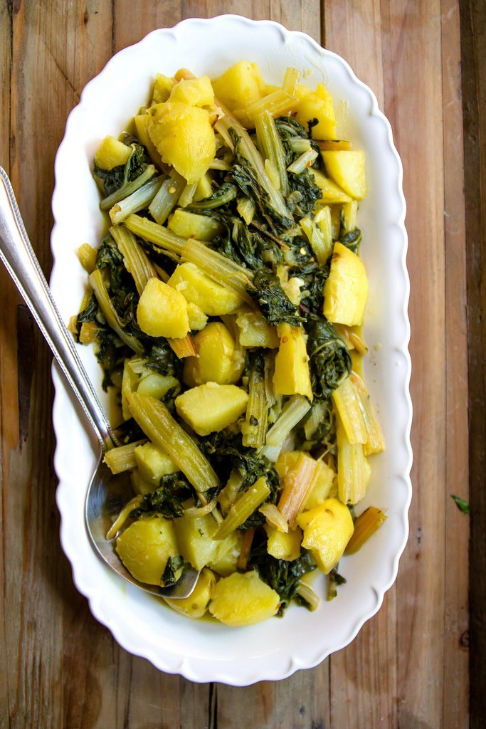 my mom's recipe for the most amazing spicy swiss chard with potatoes