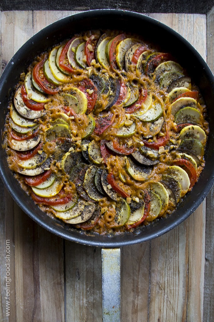 pan of cooked Ratatouille