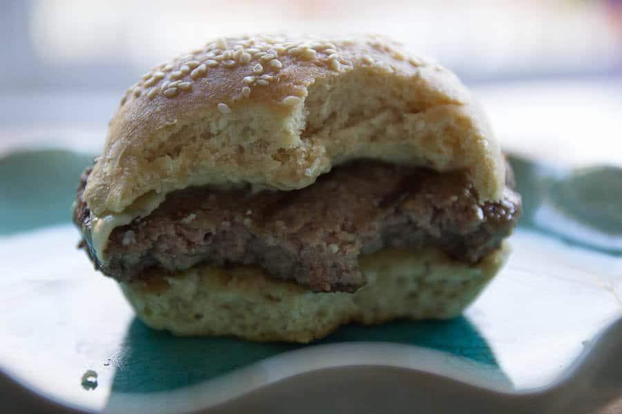 hamburger bun with bite