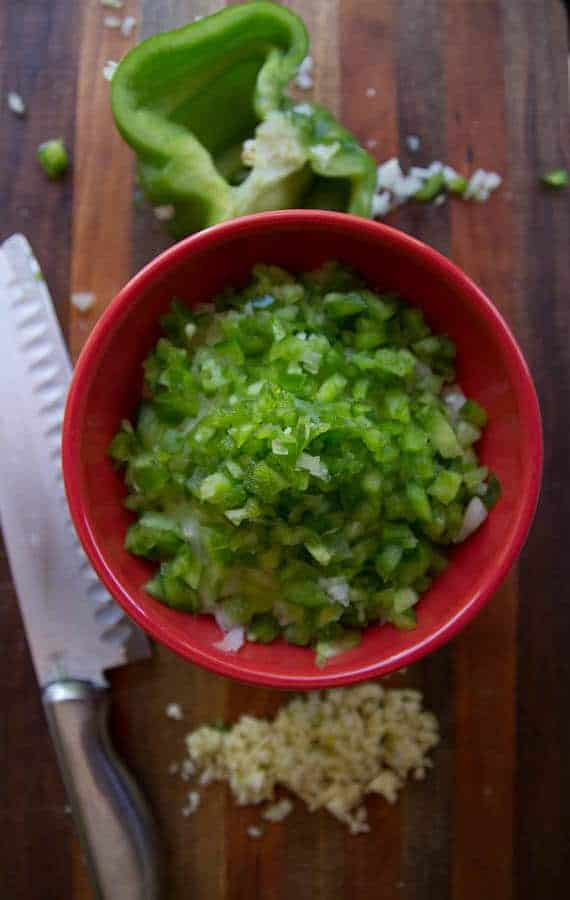 chopped onion green pepper for black beans
