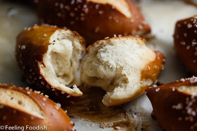 crumb shot of soft mini pretzel buns from Rose Levy Barenbaum's Baking Bible