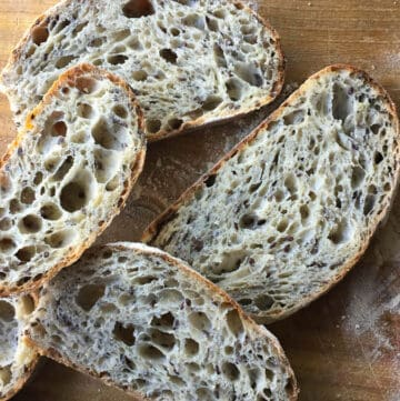 slices of homemade flax and chia sourdough