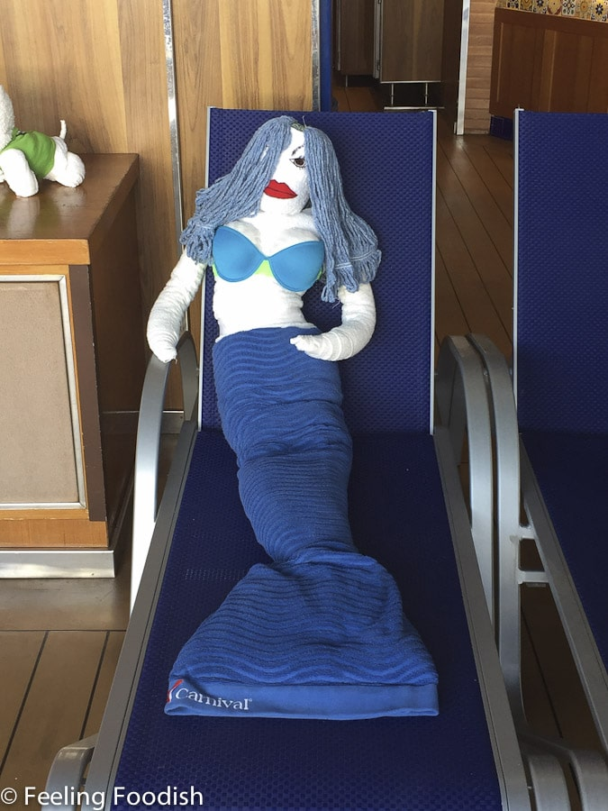 Mermaid towel folding Carnival Pride