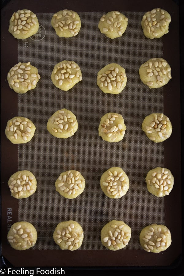 the best pignoli cookies, only 4 ingredients plus pignoli. easy to make too!!
