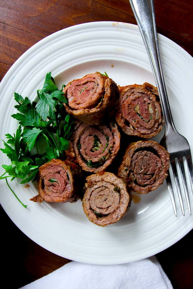 dish of italian braciole sliced