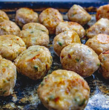 tray of baked turkey meatballs