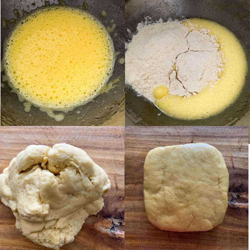 collage of photos showing the overall dough making process for struffoli