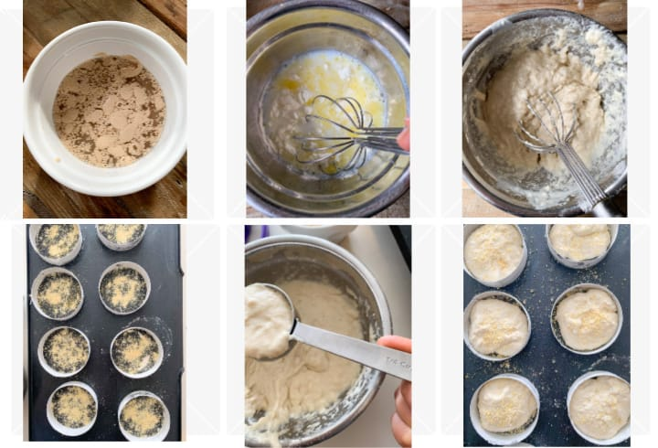 Photo collage of step by step process to making English muffins including mixing the dough, pouring onto griddle and cooking