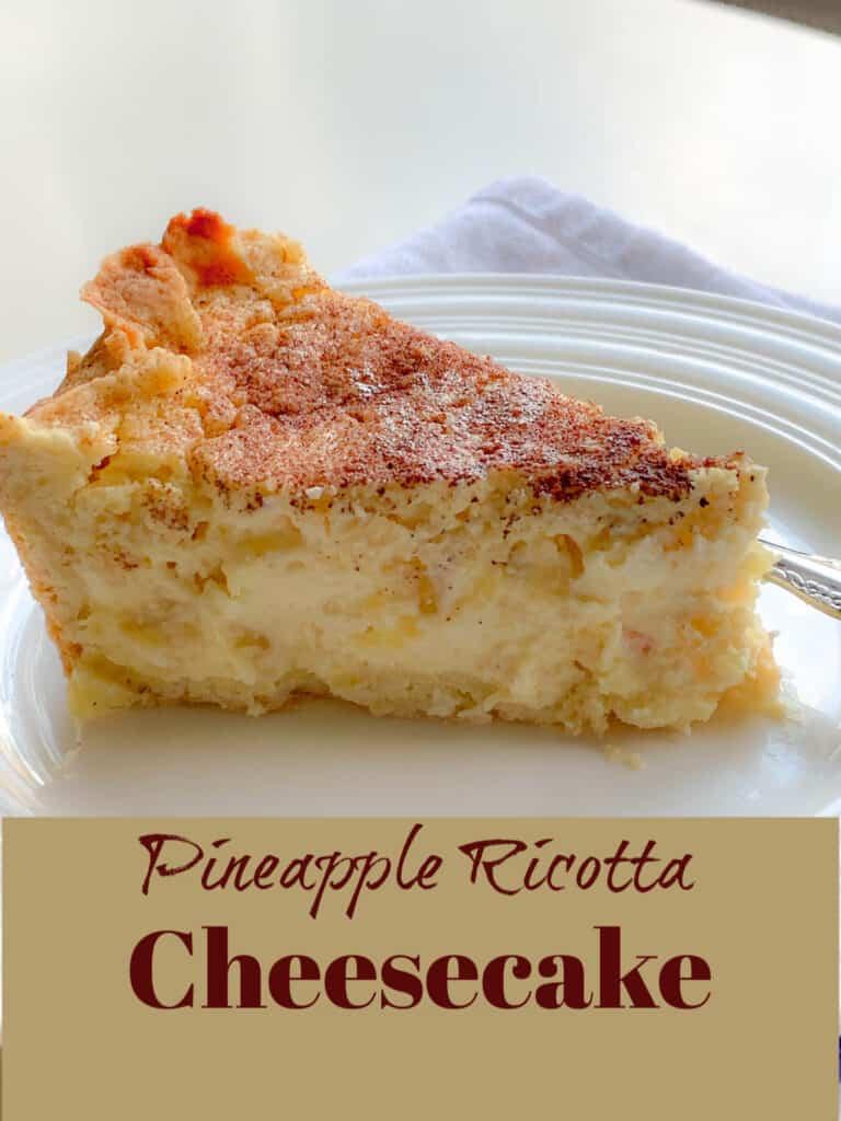 slice of italian pineapple cheesecake on white plate