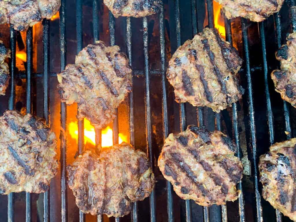Gyro burger on grill.