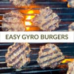 overhead view of gyro burgers over grill with flame