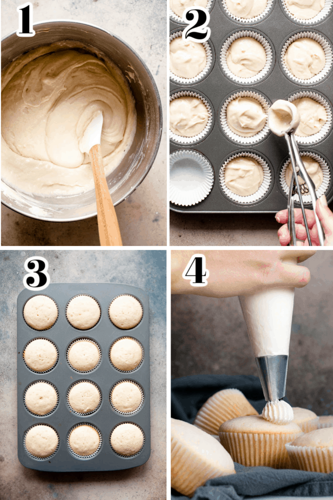 collage of steps in making vanilla cupcakes including mixing batter, filling cupcake molds, baking and adding frosting