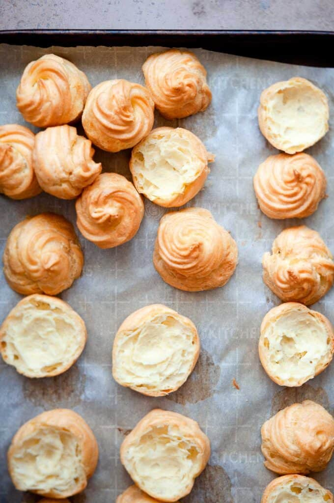 Cooked cream puff shells.