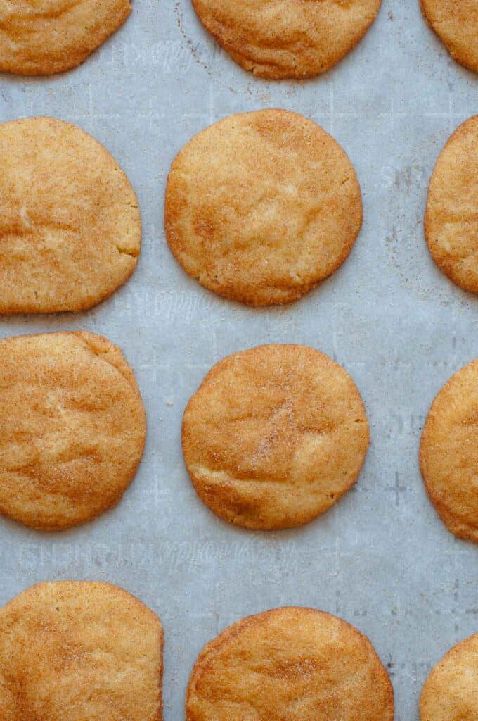 Tray of baked snickerdoodles