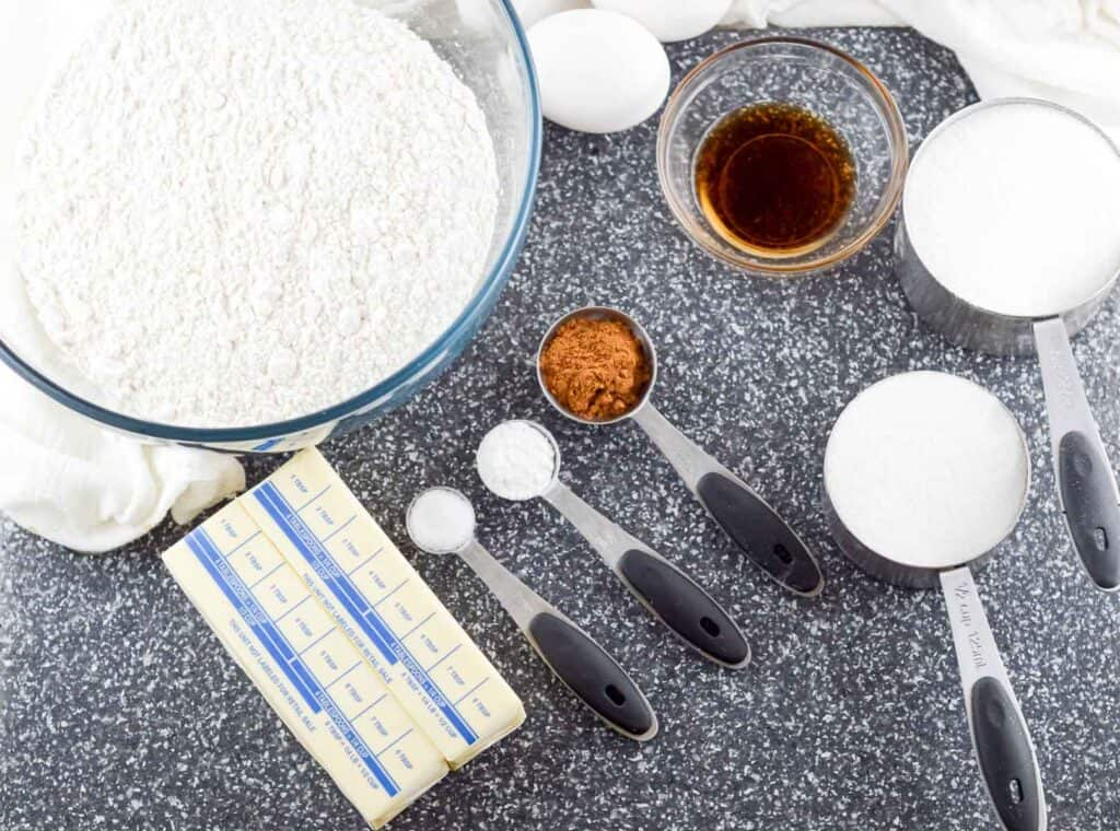 ingredients for snickerdoodles measured out
