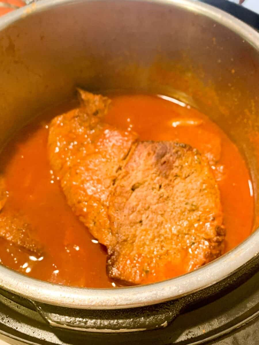top view of cooked italian beef in instant pot