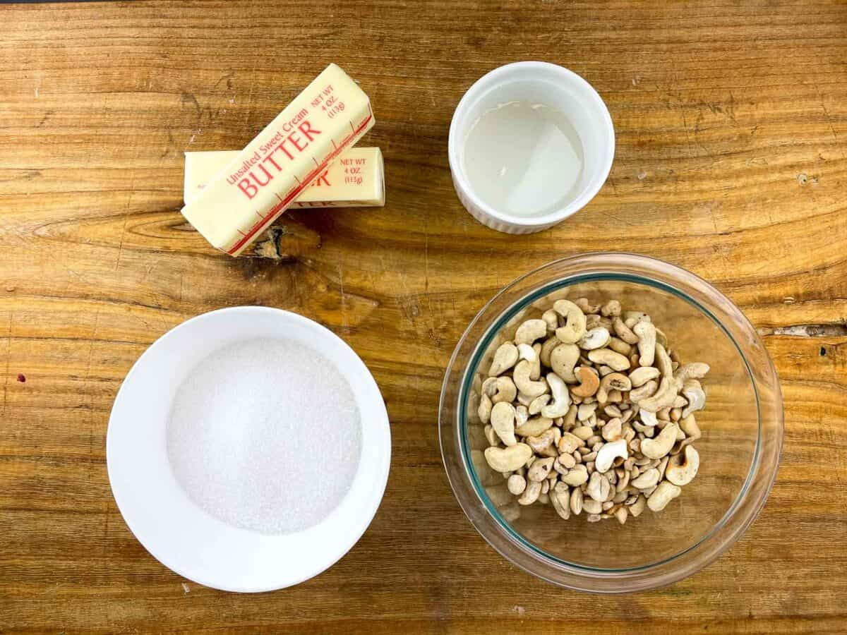 overview of cashew brittle ingredients on wooden board