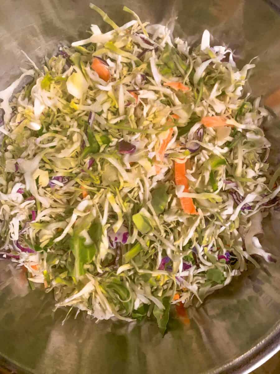 close up view of mixed cabbage slaw with mango, avocado and red onion