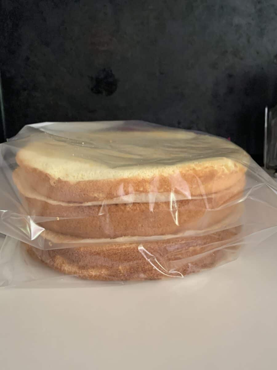 sponge cake layers in freezer bags with parchment paper separating layers