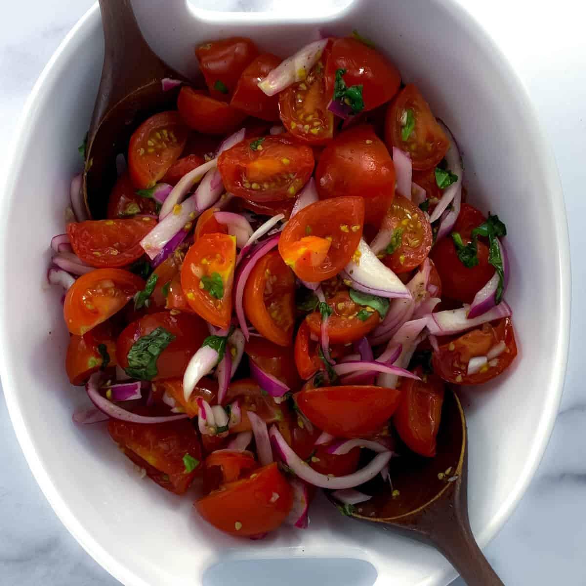 overhead view of Italian tomato salad