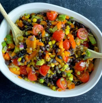 top view of black bean and corn salad in white dish