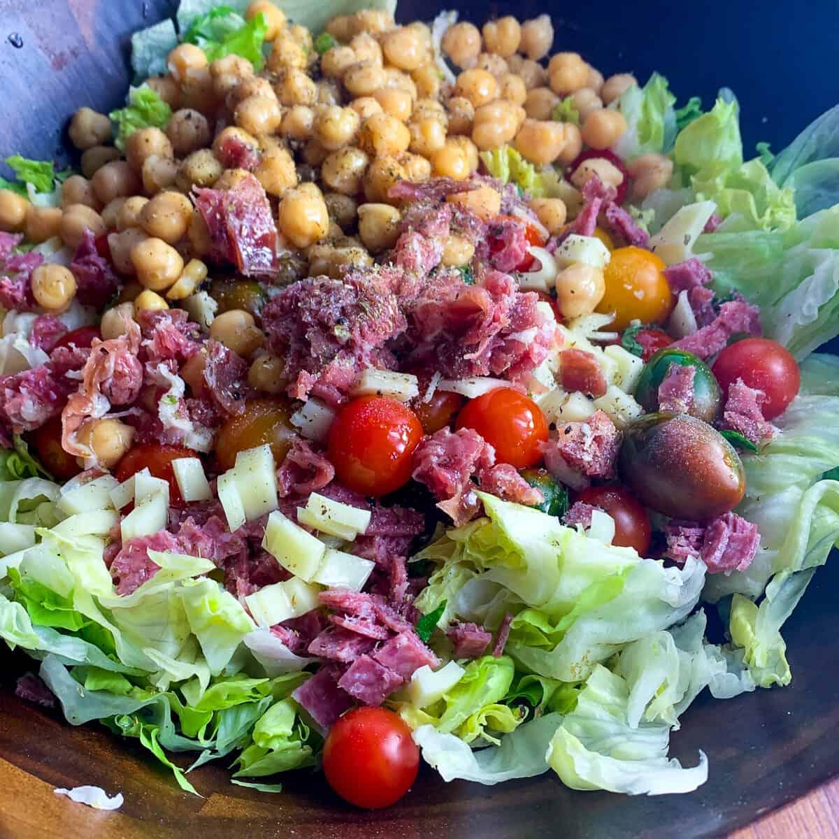italian chopped salad ingredients in bowl