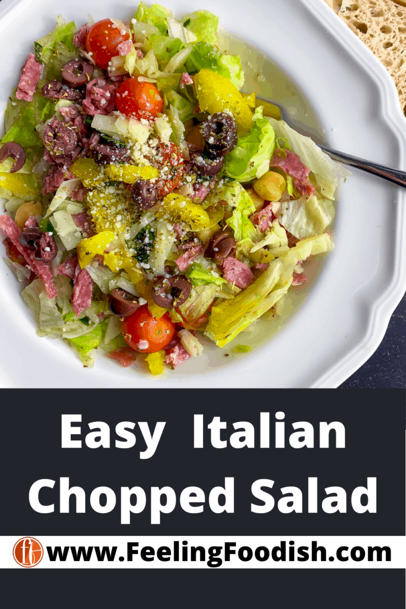 Top view of Italian chopped salad in white bowl