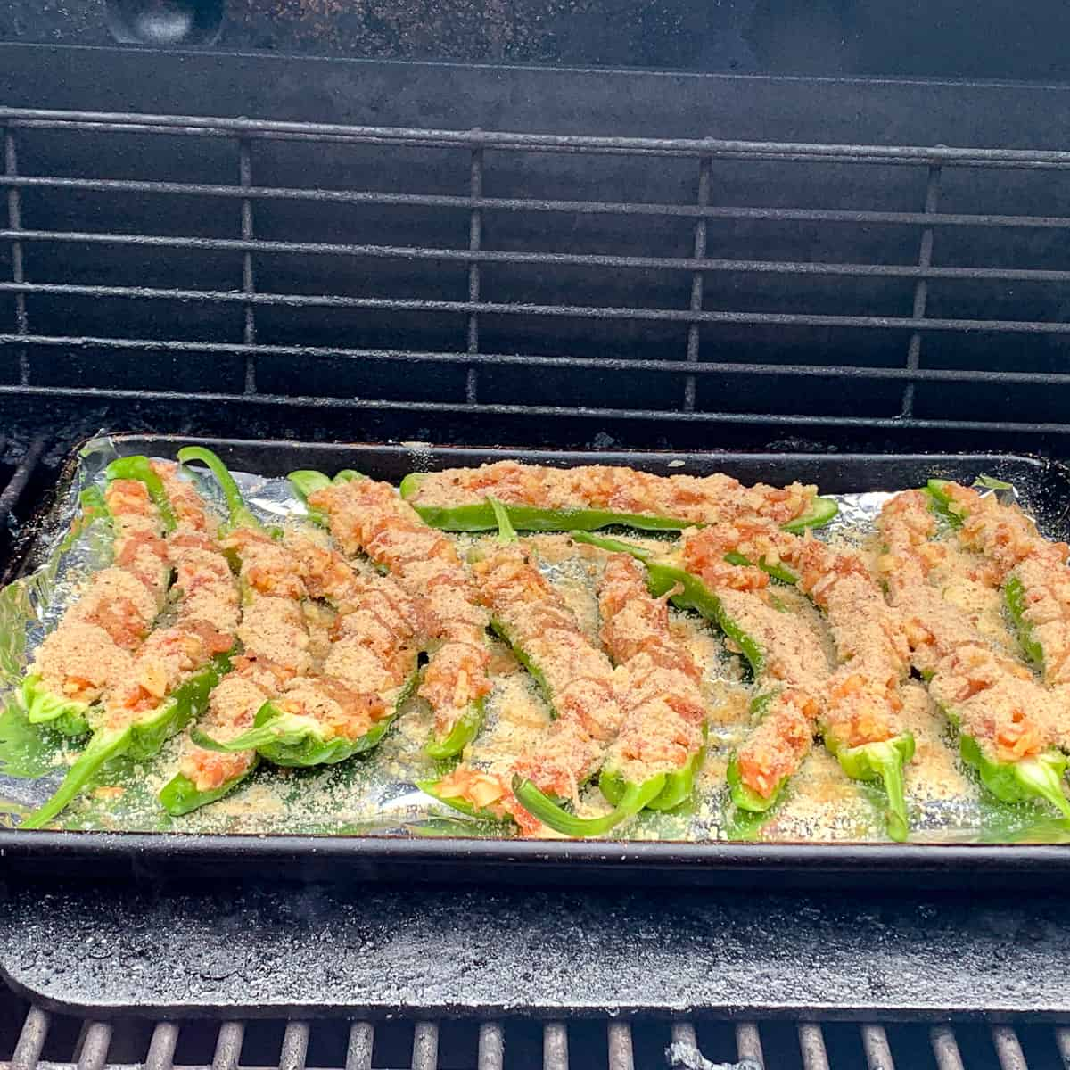 Italian long hots cooking on the grill