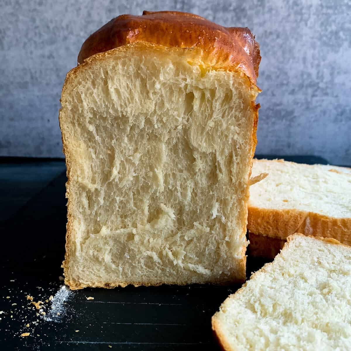 crumb of shokupan bread is shreddably soft and fluffy