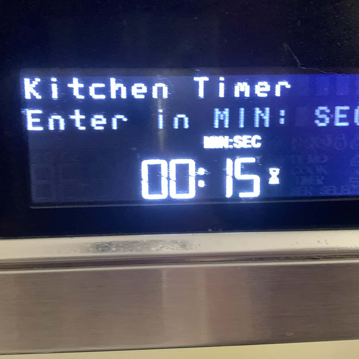 microwave oven timer set to 15 seconds