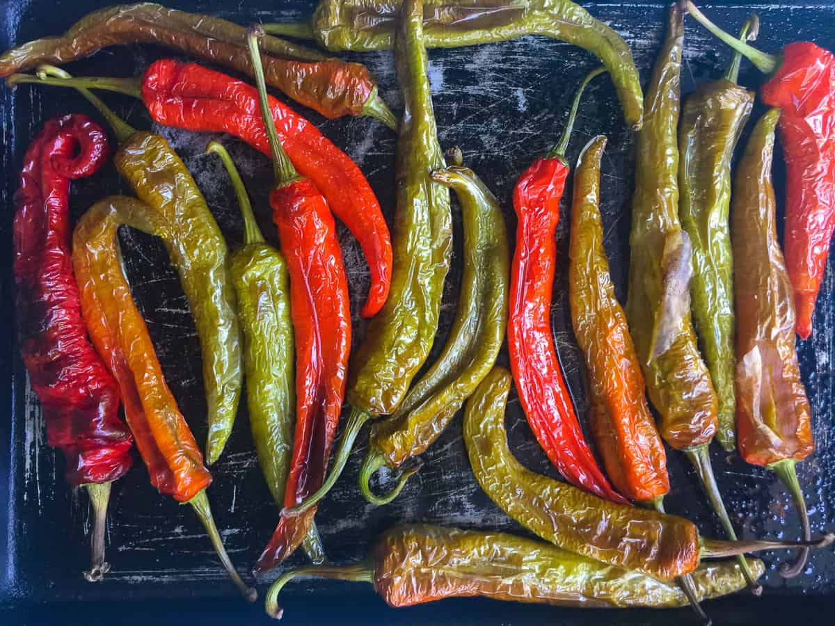 red and green Italian long hots just roasted on sheet pan