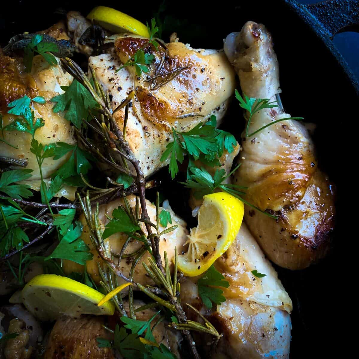 close up view of skillet roasted chicken with parsley and lemon
