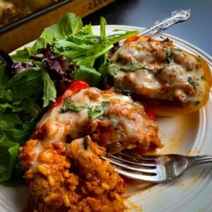 side view of turkey stuffed bell peppers with salad on white dish