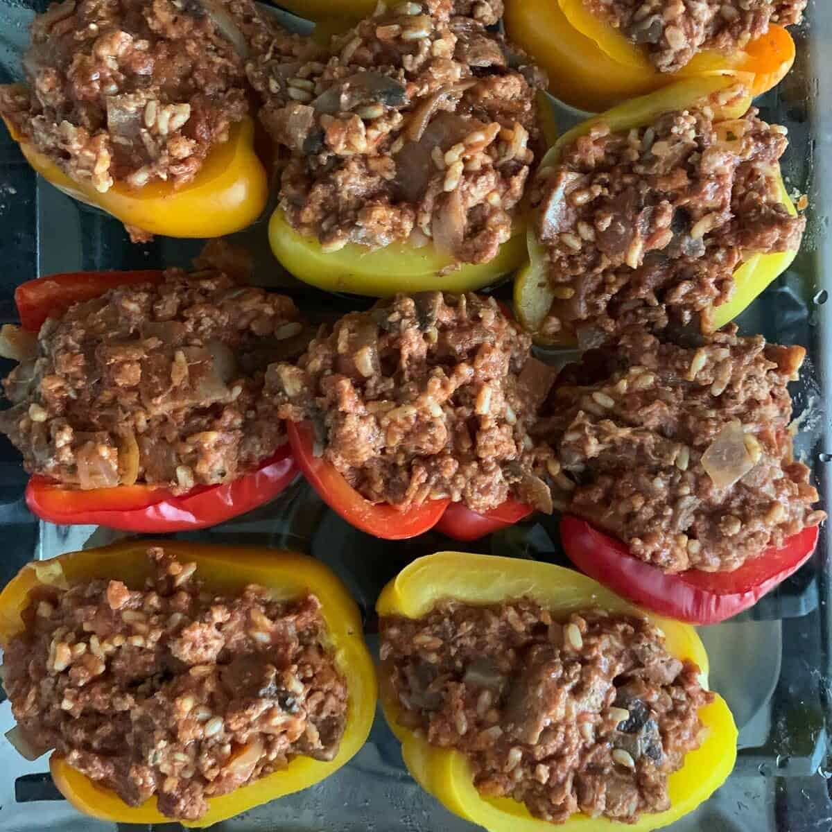 top view of stuffed peppers about to be baked